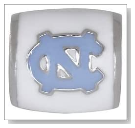 University of NORTH CAROLINA UNC Tar Heels Logo White 925 Silver European College Charm Bead