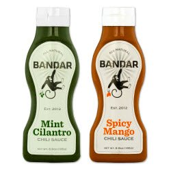 Bandar's Spicy Mango and Mint Cilantro Chili Sauces, 6.9 Oz (1 Bottle Each Flavor)