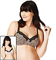 2 Pack Maternity Cotton Rich Assorted Non-Wired B-H Bras