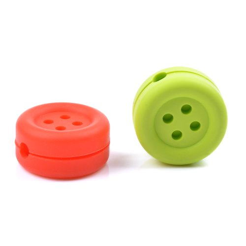 Case Star ® 2 Pcs Assorted Colors (Red, Light Green) Button-Shaped Heavy Duty Silicone Bobbin Winder Wrap Organizers For Earphone/Ear Bud Cord With Case Star Velvet Bag