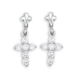 Edwin Earls Jewelry Mens 14k White Gold Bonded Cz Cross Stud Earrings Unisex