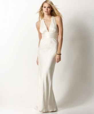 Exclussive Wedding Gowns: Nicole Miller Silk V-Neck Cross-Back Gown