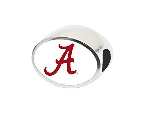 University of Alabama Bead Fits Large Hole Bead Bracelets Like Pandora, Chamilia, Biagi, Zable, Troll