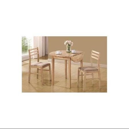 Coaster 3-Piece Breakfast Table Set, Natural Finish Casual Style, Standard Height