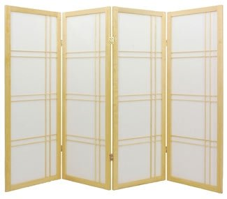 Fireplace Sized - Double Cross Japanese Shoji Folding Screen Room Divider ( Natural ) 5 Panel