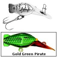 Luhr Jensen Hot Shot Rattle 5434 Lures - Size 35 Color: Gold/Green Pirate (0922)