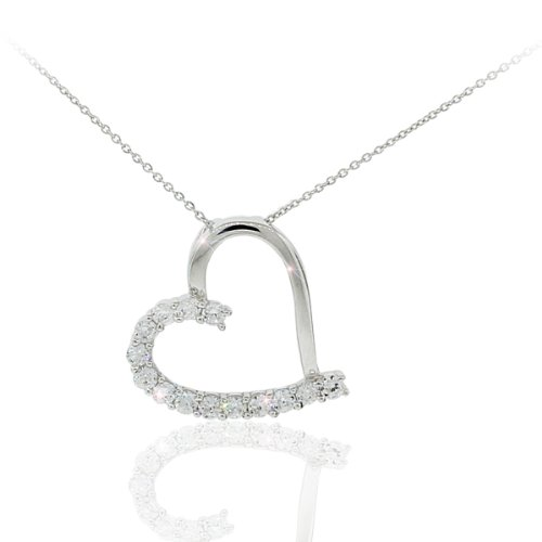 Heart Shaped Pendant in Sterling Silver Rhodium Plated with Cz