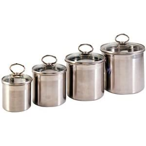 danesco stainless steel 4 piece canister set amazon ca