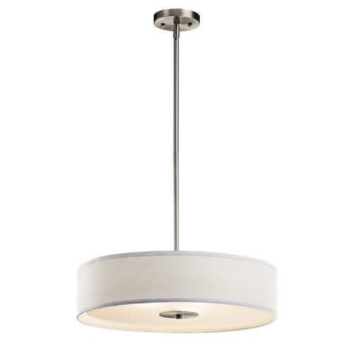 Kichler Lighting 42121NI 3 Light Small Convertible SemiFlush Light, Brushed Nickel