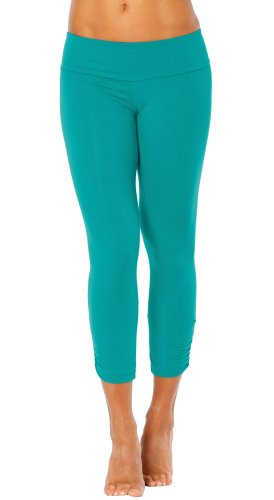Elisabetta Rogiani Women'S Sport Band Side Gather 3/4 Yoga Leggings Xs, Teal