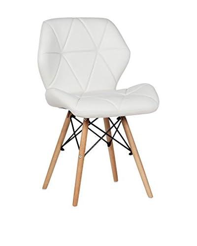 LO + demoda stoel set van 2 Wooden Pentagone Blanco