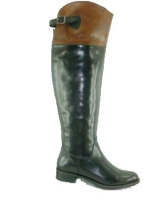 LADIES LEATHER LONG BOOT WITH TPR SOLE BLACK+TAN (9060) (UK 7, Black+Tan)