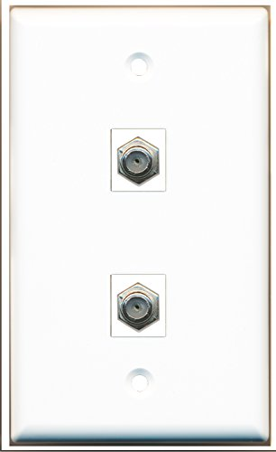 Riteav - 1 X Cable Tv Coax And 1 X Cable Tv Coax 2 Port Wall Plate White