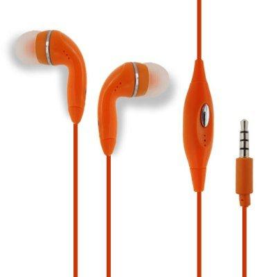 Orange Handsfree Earphone Headphones Headset With Mic For Apple Iphone 3G 3Gs 4 4S 5