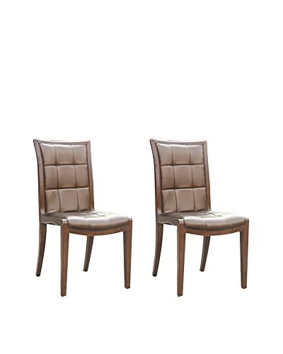 Ceets Set of 2 Executor Dining Chairs, Brown