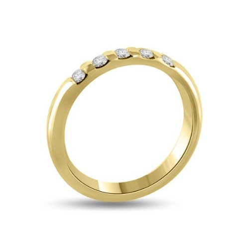 0.60 carat Diamond Half Eternity Ring for Women. G/SI1 Round Brilliant Diamonds in Bar Setting in 18ct Yellow Gold