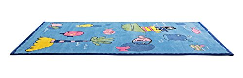 CT RUGS for Kids Pirate Captain Blue Area Rug 5'3''x7'7''