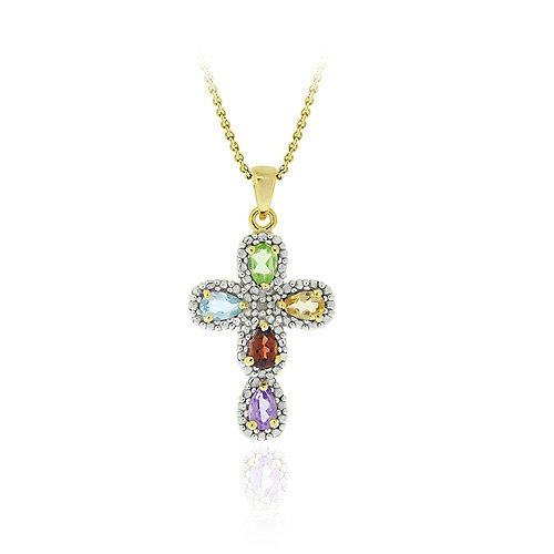 Sterling Silver Multi Gemstone & Diamond Accent Cross Pendant