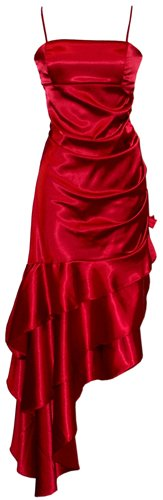Ruched Ruffle Satin Prom Gown Holiday Party Cocktail Dress Bridesmaid, Medium, Red