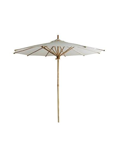 ZEW, Inc. Bamboo & Canvas Umbrella, White