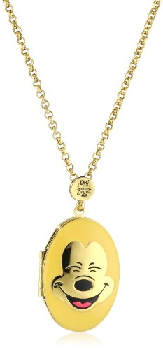 Disney Couture Mickey Face Yellow Locket Necklace