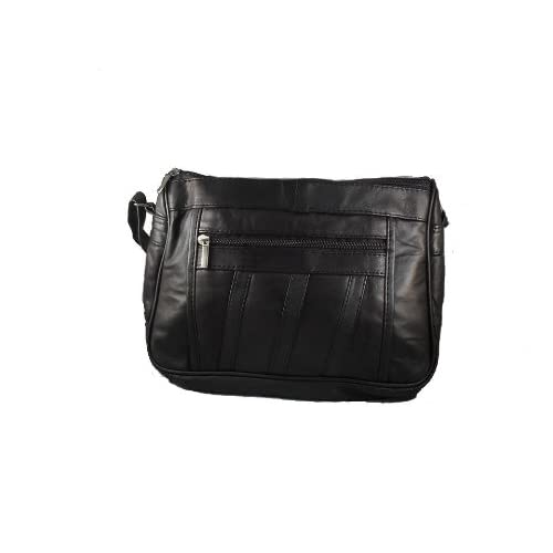 Womens Super Soft Nappa Leather Shoulder Bag   Handbag with Two Main Zipped Compartments (Black   Brown   Navy...