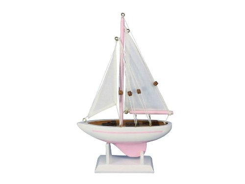 """Handcrafted Nautical Decor Pacific Sailer Pink 9"""" Handcrafted Model Ship, Fully Assembled (Not A Kit)"""