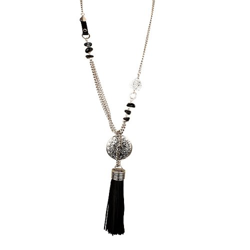 Long Silver and Black Chain Leather Tassel Fashion Necklace