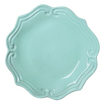 Christmas Tablescape Decor - Incanto Aqua Baroque Salad Plate Made in Italy by Vietri