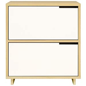 Modu-licious 2 Drawer Lateral File Wood: Graphite-on-Oak, Bottom Drawer: White, Top Drawer: Robin's Egg Blue