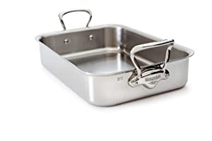 Mauviel M'Cook 5217.35 13.5 x 9 Inch Roasting Pan, Cast Stainless Steel Handles