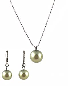 Necklace - Earrings Set - N500 - Glass Pearl Drop (10 mm) hung on 1 mm Ball Chain ~ Olive Green