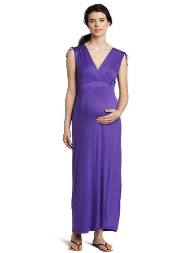 Three Seasons Maternity Women's Sleeveless Shoulder Tie Maxi Dress, Purple, Small
