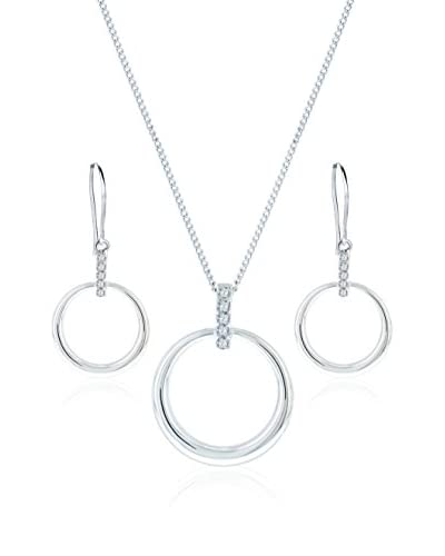 Diamond Style Conjunto de cordón, colgante y pendientes Horizon Plateado