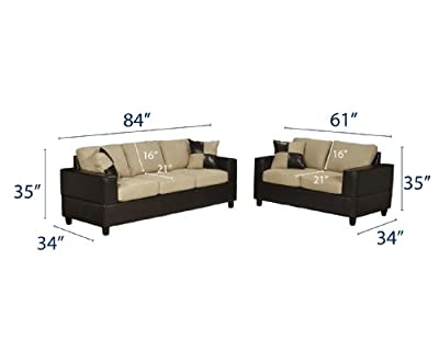 Bobkona Seattle Microfiber Sofa and Loveseat 2-Piece Set in Hazelnut Color