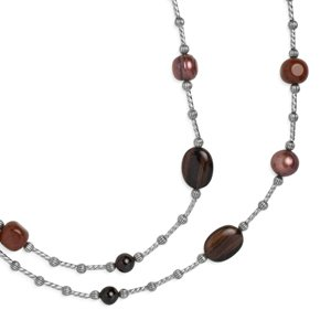 Southwest Spirit Sterling Silver Shades of Red Long Beaded Station Necklace - 36