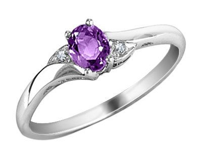 Amethyst Ring with Diamonds in 10K White Gold, Size 7.5