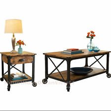 Style Country Side End Table Antique Industrial Black Coffee Table