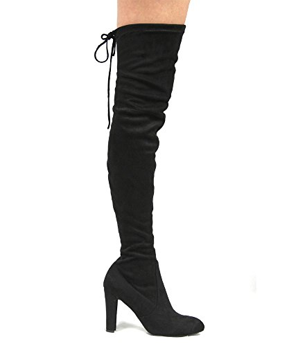 Image of ROF Women's Fashion Comfy Vegan Suede Block Heel Side Zipper Thigh High Over the Knee Boots BLACK (7.5)