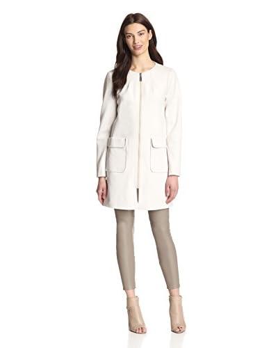 Vince Camuto Women's Collarless Front Zip Ponti Coat