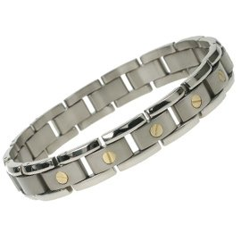 Titanium Bracelet with 18K gold. It is light & strong with satin finish on the inside, and polished on the outside. 8″ in length