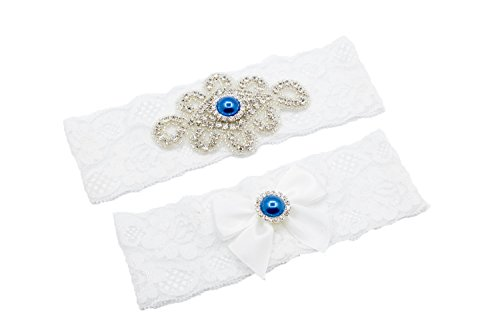 Unibuy Wedding Lace Garter Set With Blink Rhinestone Add Light Blue Pearl(Gift Box)