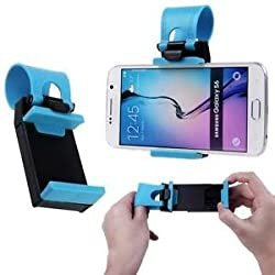 """LipiWorldâ""""¢ Car Steering Wheel Mobile Holder For Phones Up To 4.8 Inches - When You Use Your Phone To Navigate-Blue"""