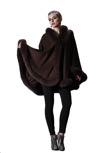 CAPE- CASHMERE CAPE WITH FOX TRIM ALL AROUND FROM CASHMERE PASHMINA GROUP