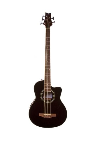 5 String Cutaway Acoustic Electric Bass with 4 EQ – Black Ebony & DirectlyCheap(TM) Translucent Blue Medium Guitar Pick