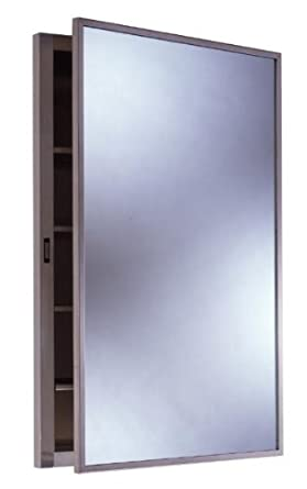 "Bobrick 398 304 Stainless Steel Recessed Medicine Cabinet, Satin Finish, 14-7/8"" Width x 26-7/8"" Height, 4 Shelves"