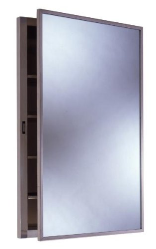 """Bobrick 398 304 Stainless Steel Recessed Medicine Cabinet, Satin Finish, 14-7/8"""" Width x 26-7/8"""" Height, 4 Shelves"""