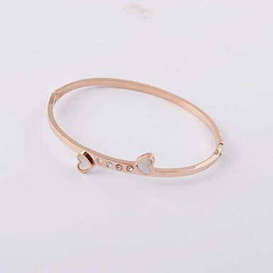 Classic Heart Shape Diamonte 316L Stainless Steel Rose Gold Plating Charm Bangle
