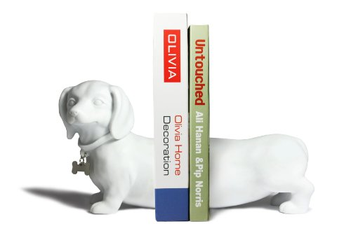 Danya B. Dachshund Bookend Set, White