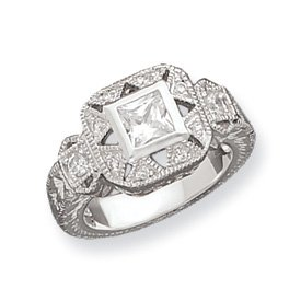 Genuine IceCarats Designer Jewelry Gift Sterling Silver Cz Antique Style Ring Size 6.00